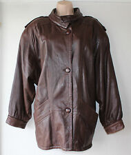 Brown 100% Real Leather TOSCANA Hip Length Ladies Women's Jacket Coat size M L