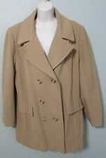 Women's Vintage MacKintosh Tan Wool Fitted Coat Pea Coat Sz 14 Made in USA