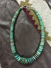 Old Pawn Native American Sterling Silver BENCH BEADS TURQUOISE CHUNKY NECKLACE