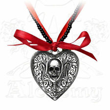 Alchemy Gothic The RELIQUARY SKULL HEART LOCKET on Black Bead & Ribbon Necklace