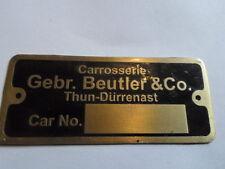 Schild Typenschild id plate  Beutler Carosserie Thun Schweiz Porsche BMW V8