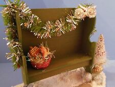 Dollhouse mini Christmas garden deacons bench w/tree & basket of gingerbread