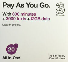 Italy with 42 Countries - UK Three SIM £20 (Europe Prepaid Sim) 300+300+12GB
