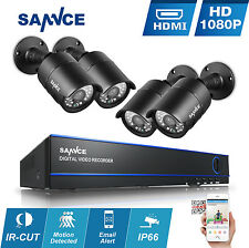 SANNCE 1080P 8CH AHD DVR P2P 2500TVL In/Outdoor Home CCTV Security Camera System