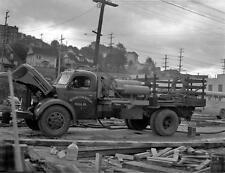 Photo. 1940s. Seattle, WA. Vacuum Concrete Truck - Fairview Ave Trestle