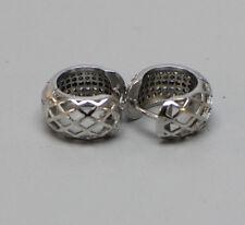 """NICE Sterling Silver 925 Pierced Earrings 1/2"""" Huggie Hoops-Latch Work & CZ"""