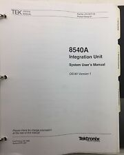 Tektronix 8540A Integration Unit System User's Manual OS/40 Ver1 P/N 070-5577-00