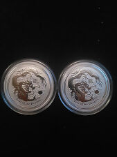 2 Coin Lot - 2012 1/2oz  .999 Fine Silver Australian Lunar Dragon Coins
