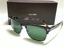 AUTHENTIC TOM FORD RIVER FT0367 02B BLACK BLONDE HAVANA/GREY GREEN SUNGLASSES