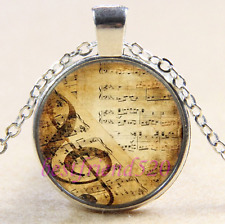 Music notes Photo Cabochon Glass Tibet Silver Chain Pendant Necklace#1I0