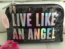 New Victoria Secret Bling Black Cosmetic Makeup Bag Live Like An Angel Black