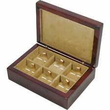 Camphor Burl Wood 6 Cufflink Storage Box by Hillwood