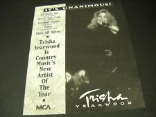 TRISHA YEARWOOD Country New Artist Of Year IT'S UNANIMOUS Promo Poster Ad mint