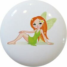 FAIRY Green Cabinet DRAWER Pull KNOB Ceramic