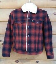 Levi's Trucker's Wool Blend Sherpa Lined Jacket Mens Small Barn Red & Black NWT