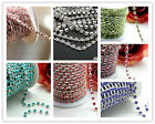 1yd sliver bottom crystal rhinestone 3-4mm chain trim sewing craft jewelry DIY