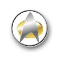 "STAR TREK COM BADGE  1"" / 25mm pin button / badge / America / NG / DS9 / Voyager"