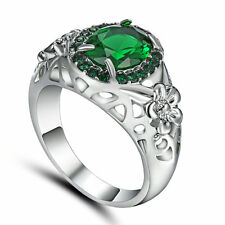 Size 7 Green Emerald Gem Engagement Ring 10KT White Gold Filled Wedding Band