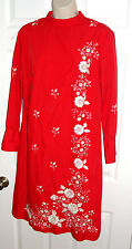 VINTAGE 50'S 60'S DRESS RED ZIPPER BACK LONG SLEEVE KNITTED FLOWERS TESORO'S L
