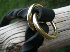 "BLACK LATIGO LEATHER 1"" X 23"" DOG SLIP/CHOKE COLLAR  X-HEAVY SOLID BRASS RINGS"