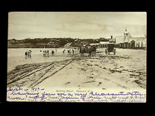 1907 Buggies & Bathers on Bathing Beach Newport RI post card