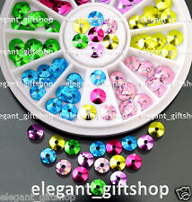 #ER60  Nail Art Decoration Blue Green Pink Purple Yellow Glitter Spangles+Wheel