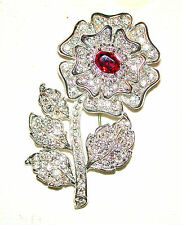 BUTLER & WILSON WHITE FLOWER DIAMANTE ROSE VINTAGE PIN W RED CENTER BOOK PIECE