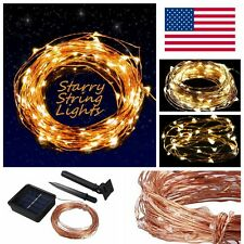 Solar powered Warm White 10M/33FT 100LED Copper Wire Outdoor String Fairy Light