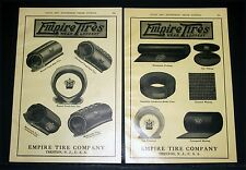 1910 OLD MAGAZINE PRINT AD, EMPIRE TIRES WEAR LONGEST, RED TUBES, ACESSORIES!