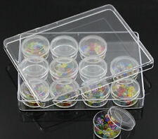 Clear Plastic  Jewelry Storage Box With 12 Small Cylindrical Containers