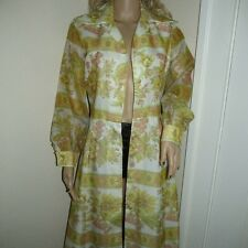 Vtg 60's 70s Mod chiffon button down A-Line Maxi COAT or DRESS as is S