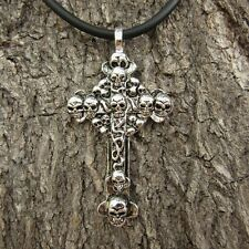 g01 SKULL GOTHIC CROSS PENDANT UNISEX PEWTER US ORNAMENT LADY NECKLACE MEN HEAD