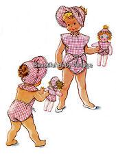 Reproduction Sewing Pattern 1950s Baby & Dolls Swim Suit Romper Bonnet Size 1-2