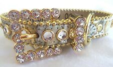 BB SIMON GOLD/SILVER METALLIC LEATHER DOG COLLAR-CLEAR SWAROVSKI STONES-MEDIUM