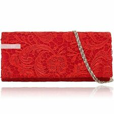 Stylish Red Lace Floral Wedding Ladies Party Prom Evening Clutch Hand Bag