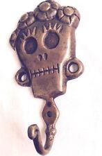 Skull Head Sculpture Statue Figure Skeleton Coat Hook Pure Bronze All Metal