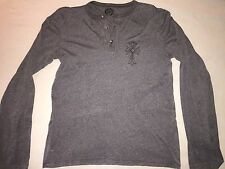 Chrome Hearts Cotton Silver Button Henley Long Sleeve Shirt Medium AUTHENTIC