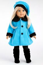 "Parisian Stroll - Clothes for 18"" American Girl Doll, Coat Beret Leggings Boots"