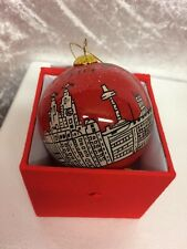 Beautiful Hand Painted Red Liverpool Christmas Bauble In Gift Box
