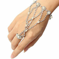 Beautiful New Vogue Crystal & Pearl Hand Foot Harness Bracelet Slave Chain Ring