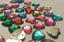 50 COLOURFUL ACRYLIC SEW-ON HEART GEMS-Cabochon-card-making-Embellishments-10mm