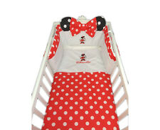 Personalised Red Polka Dot Minnie Mouse Cot Cotbed Bedding