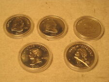 5 x Republic of Liberia Five Dollars coins Dollar Presidential Presidents U.S.