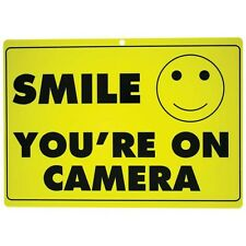 """""""You're on Camera"""" Smiley Face Heavy Duty Home Business Security Sign 12""""x8.5"""""""