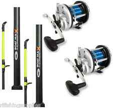 2 x SEA FISHING BOAT RODS 25LB 6FT 2 PIECE + 2 x JD300 MULTIPLIER REELS