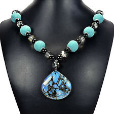 Blue Sea Sediment Jasper & Indonesia Bead Pendant Necklace Handcrafted Jewellery