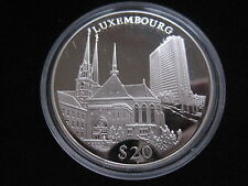 """MDS LIBERIA 20 DOLLARS 2000 PP / PROOF """"LUXEMBOURG"""", SILBER #30"""