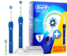 BRAUN ORAL B PRO 3000 DUAL HANDLE ELECTRIC TOOTHBRUSH !! Latest Model !!
