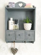 Shabby Chic Wall Unit Shelf Cupboard Cabinet Small Display Drawer Storage Heart