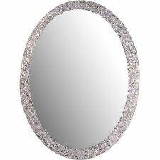 Mirror Oval Frame-Less Bathroom Vanity Wall Elegant Crystal Border Home Decor